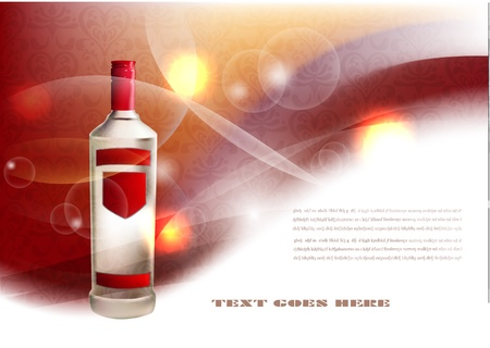 cognac: background with bottle of spirit