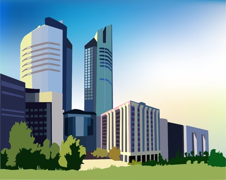 office environment: background with hi-rise buildings  Illustration