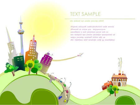 City and village background Vector