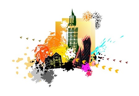 building color: modern city illustration