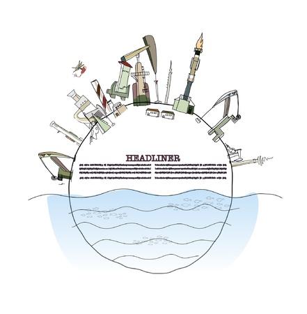 oil pipeline: Planeta bombeada fuertemente por la industria petrolera  Vectores