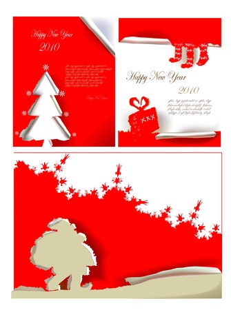 paper ripped christmas set  Vector