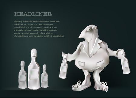 plasticine: plasticine character with bottles  Illustration