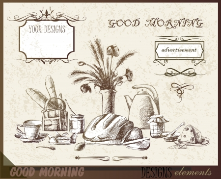cooking book: breakfast, design elements  Illustration