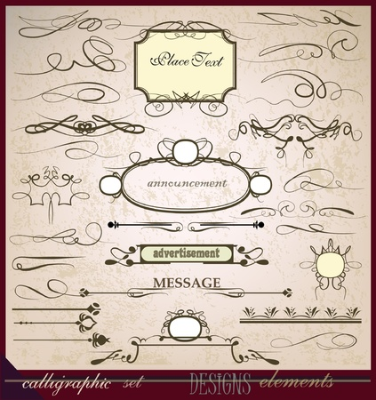 ornamental scroll: calligraphic design elements  Illustration