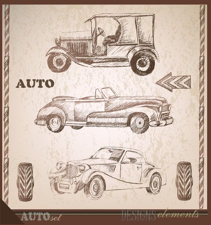 set of vintage cars  Vector