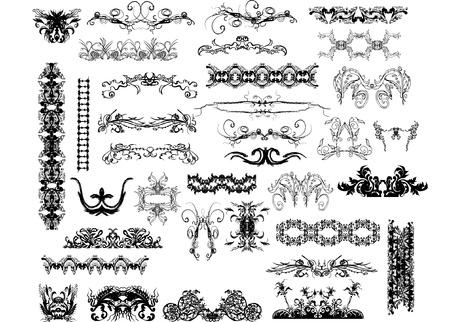 victorian christmas: calligraphic design elements  Illustration