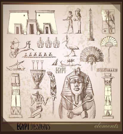 sfinx: Oude Egypte tijd vintage set  Stock Illustratie