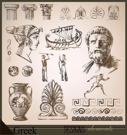 collection of design elements Ancient Rome Vector