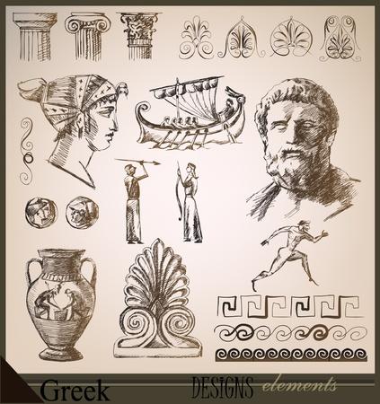 statue grecque: la collecte des �l�ments de conception Rome antique Illustration