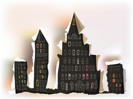 window hole: Ripped paper city silhouette with drawing details  Illustration