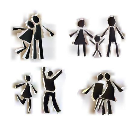 paper hole: Paper collection symbols set