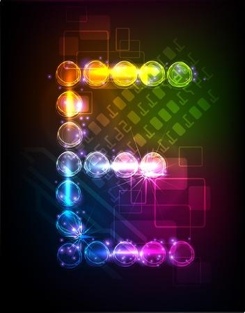 english alphabet: neon alphabet