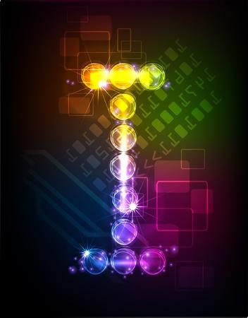 neon alphabet Stock Vector - 10329160