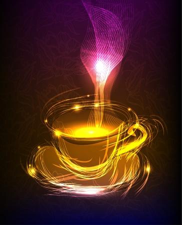 커피의 네온 컵 일러스트
