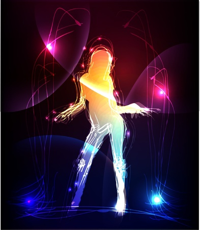 pousing girl made of light collection  Vector