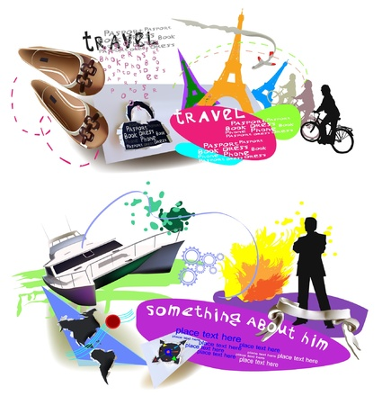 Time to travel Backgrounds, banners Stock Vector - 10329131