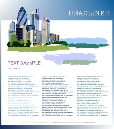 page template with business city Vector
