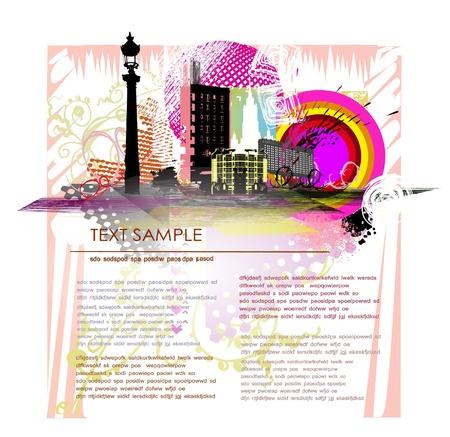 web design bridge: page template with city grunge illustration