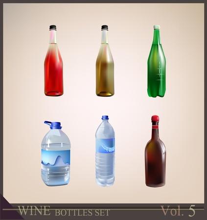 vasos de agua: conjunto de botellas de agua mineral gaseosa