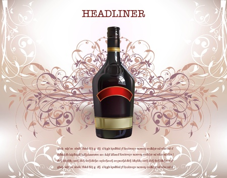 bottle of wine on the floral background  Vector