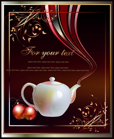 background with pot of tea or coffee  Vector