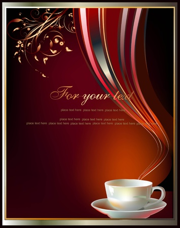 background with cup of tea or coffee  Illustration