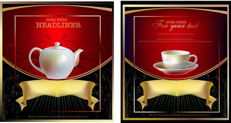 labels with tea pot and cup  Vector