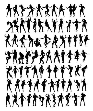 abstract dance: collection of silhuettes young woman