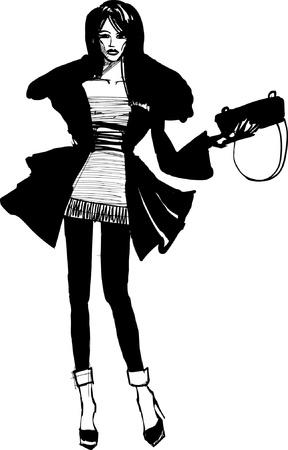 sketch young woman Vector