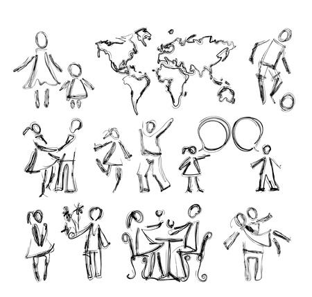 abstract people in different situations and map Vector