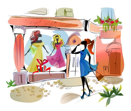 shops street: girl looking in the shops window Illustration