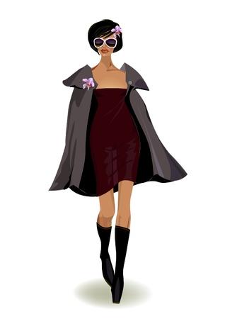 sexy black dress: wolking model