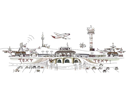 depart: city airport illustration Illustration