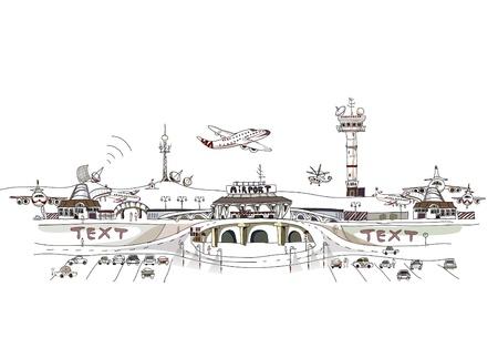 traffic control: Ilustraci�n del aeropuerto de ciudad