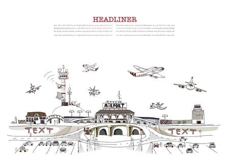 air traffic: Ilustraci�n del aeropuerto de ciudad