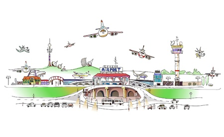 city ??airport illustrazione