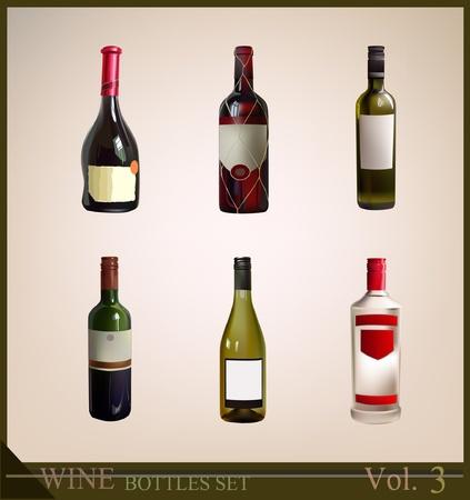 wine trade: bottles set  Illustration
