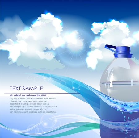 background with bottle of spring water Vector