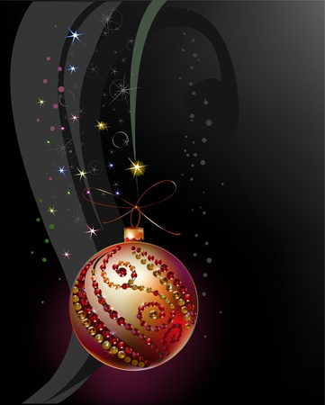 christmas background with ball  Vector