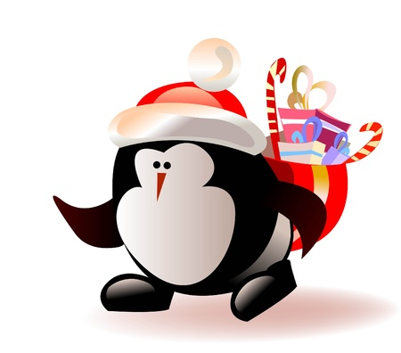 cartoon penguin: Christmas penguin