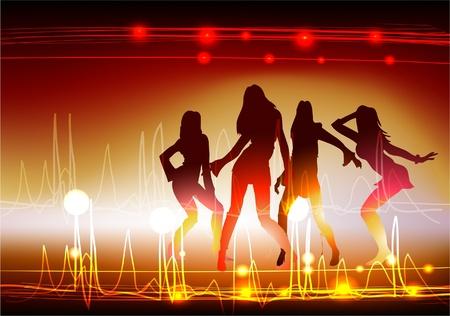 neon party: neon ragazze Vettoriali