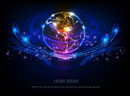 background with globe (neon collection)  Vector