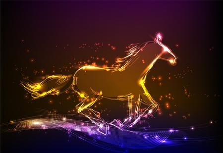 herd: running horse neon backgroung Illustration
