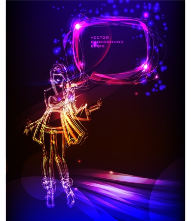 girl and bubble Neon collection Stock Vector - 10365399