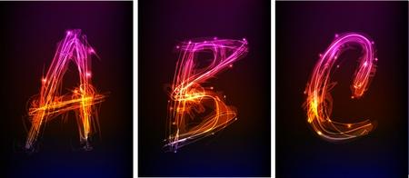 alphabet made of light collection  Ilustracja