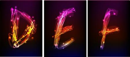 translucent: alphabet made of light collection  Illustration