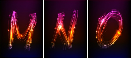 alphabet made of light collection  Vector