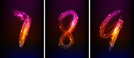 numbers made of light collection  Vector