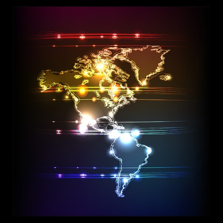 neon wallpaper: mappa al neon di America